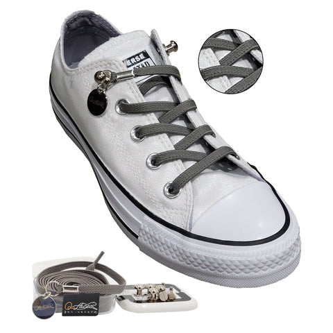 Image of Gray (Grey) Elastic No Tie Shoelaces for Adults & Kids