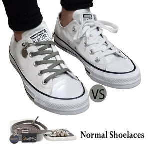 Gray (Grey) Nylon Elastic No Tie Shoelaces for Adult & Kid, Sneakers, Shoes