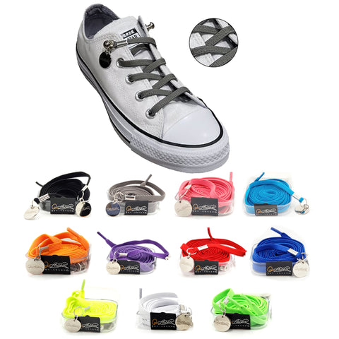 Image of Tieless Gray (Grey) Elastic No Tie Shoelaces for Adults & Kids Sneakers