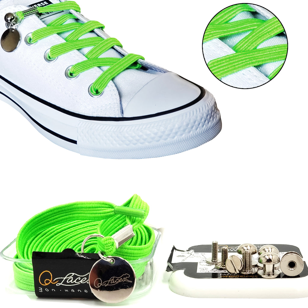 Neon Green Polyester Elastic No Tie Shoelaces for Adult & Kid, Sneakers, Shoes