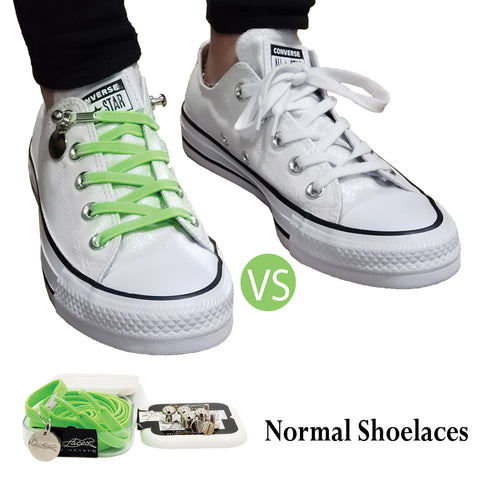 Neon Green No Tie Shoelaces for Adults & Kids