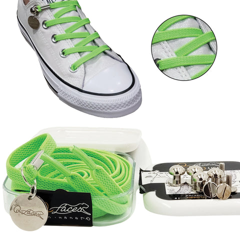 green no tie shoelaces for kids