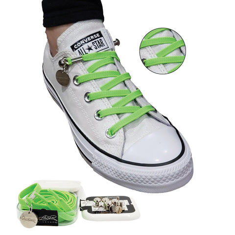 Image of Neon Green No Tie Shoelaces for Adults & Kids