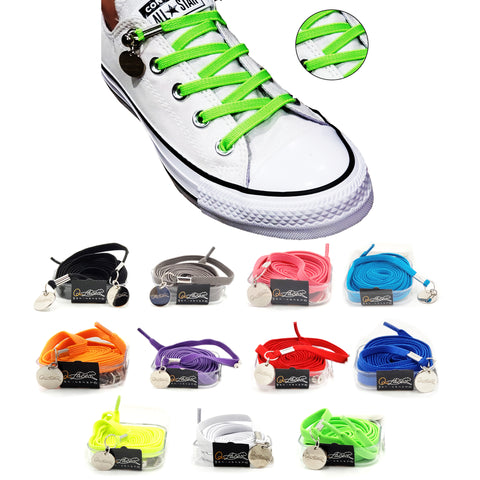 Image of Neon Green Nylon Elastic No Tie Shoelaces for Adults & Kids, Sneakers, Shoes