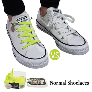 Green Yellow Nylon Elastic No Tie Shoelaces for Adults & Kids, Sneakers, Shoes
