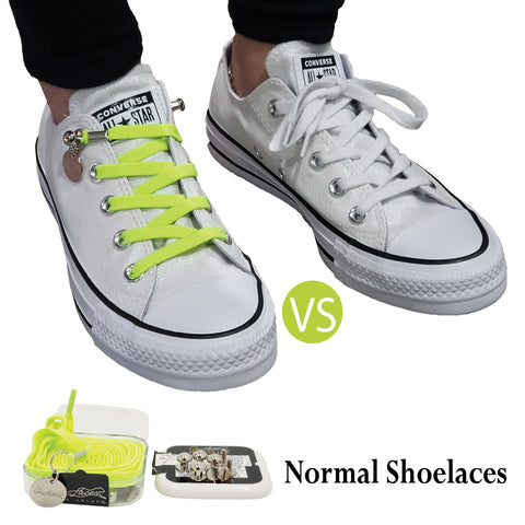 Image of Green Yellow No Tie Shoelaces for Adults & Kids