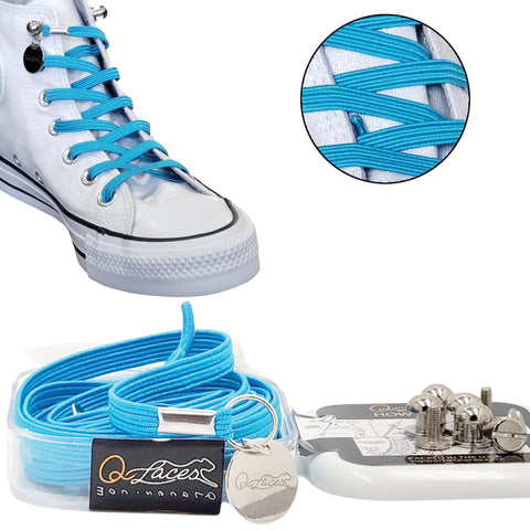 Image of Light Blue Polyester Elastic No Tie Shoelaces for Adult & Kid, Sneakers, Shoes