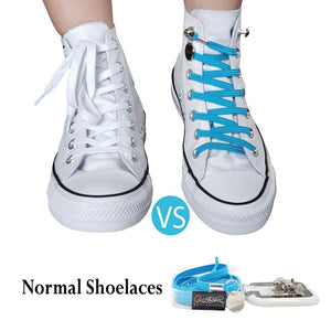 Light Blue Polyester Elastic No Tie Shoelaces for Adult & Kid, Sneakers, Shoes