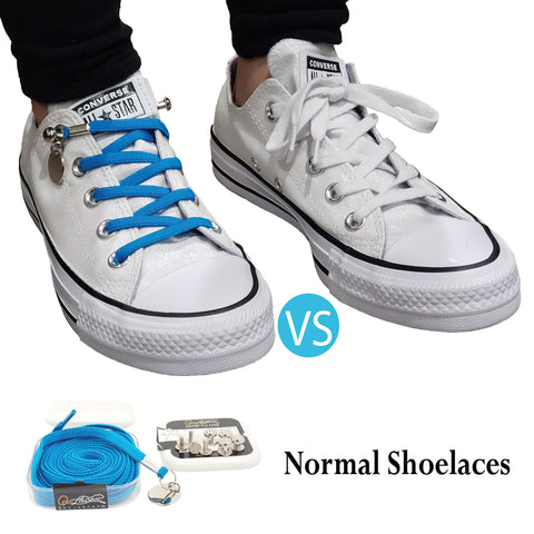 Image of Light Blue No Tie Shoelaces for Adults & Kids