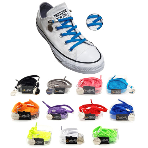 Image of Light Blue Nylon Elastic No Tie Shoelaces for Adults & Kids, Sneakers, Shoes