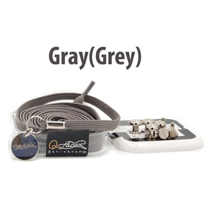 Gray (Grey) Nylon Elastic No Tie Shoelaces for Adults & Kids