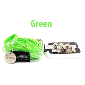 Neon Green Nylon Elastic No Tie Shoelaces for Adults & Kids