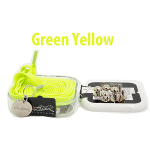 Green Yellow Nylon Elastic No Tie Shoelaces for Adults & Kids