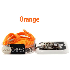 Orange Nylon Elastic No Tie Shoelaces for Adults & Kids