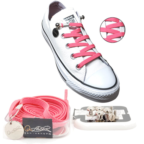 Image of Pink Elastic No Tie Shoelaces for Adults & Kids