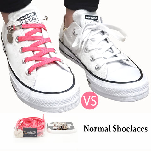 Tieless Pink Elastic No Tie Shoelaces for Adults & Kids Sneakers