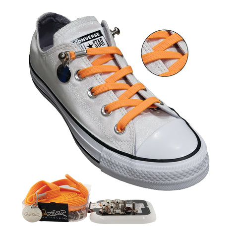 Orange Nylon Elastic No Tie Shoelaces for Adults & Kids, Sneakers, Shoes