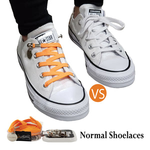 Tieless Orange Elastic No Tie Shoelaces for Adults & Kids Sneakers