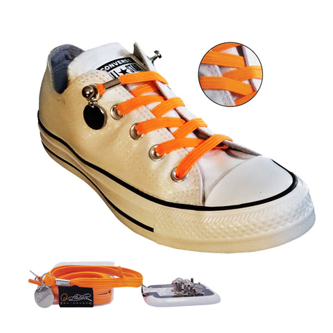 Image of Orange Polyester Elastic No Tie Shoelaces for Adult & Kid, Sneakers, Shoes