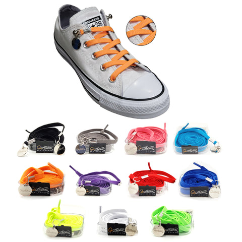 Image of Orange Nylon Elastic No Tie Shoelaces for Adults & Kids, Sneakers, Shoes