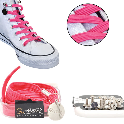 Image of Hot Pink Polyester Elastic No Tie Shoelaces for Adult & Kid, Sneakers, Shoes