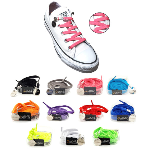 Image of Hot Pink Nylon Elastic No Tie Shoelaces for Adults & Kids, Sneakers, Shoes