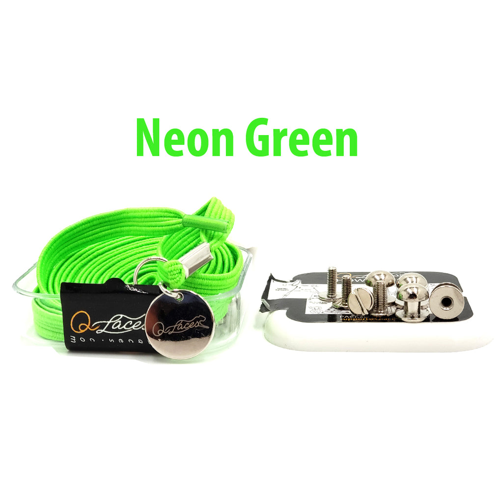 No Tie Shoelaces by Qlaces - neon green