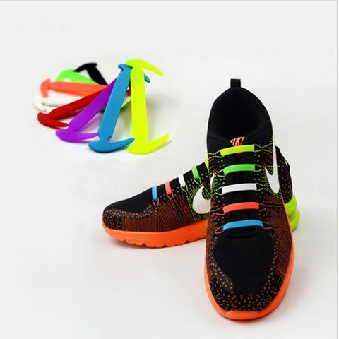 Image of Qlaces Silicone No Tie Shoelaces for Kid Sneakers or Shoes, Come in 6 pairs (12 pieces)