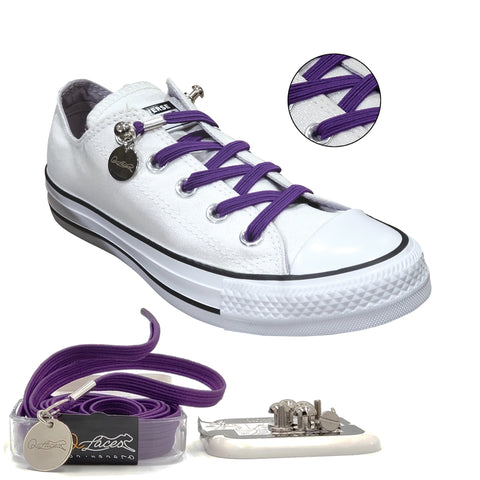 Image of Purple Polyester Elastic No Tie Shoelaces for Adult & Kid, Sneakers, Shoes