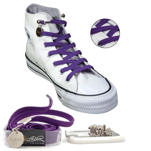 Purple Polyester Elastic No Tie Shoelaces for Adult & Kid, Sneakers, Shoes
