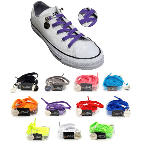Image of Purple Nylon Elastic No Tie Shoelaces for Adults & Kids, Sneakers, Shoes