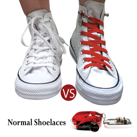 Image of Red Polyester Elastic No Tie Shoelaces for Adult & Kid, Sneakers, Shoes