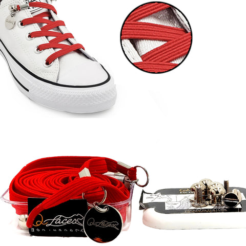 Red Polyester Elastic No Tie Shoelaces for Adult & Kid, Sneakers, Shoes