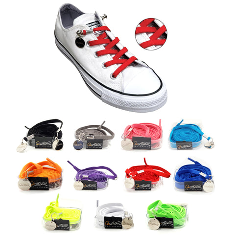 Image of Red Nylon Elastic No Tie Shoelaces for Adults & Kids, Sneakers, Shoes