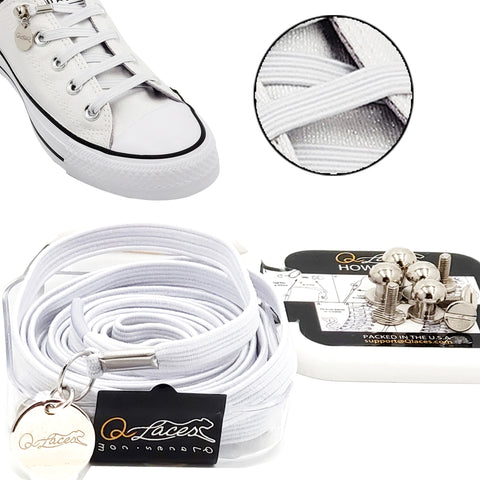Image of White Polyester Elastic No Tie Shoelaces for Adult & Kid, Sneakers, Shoes