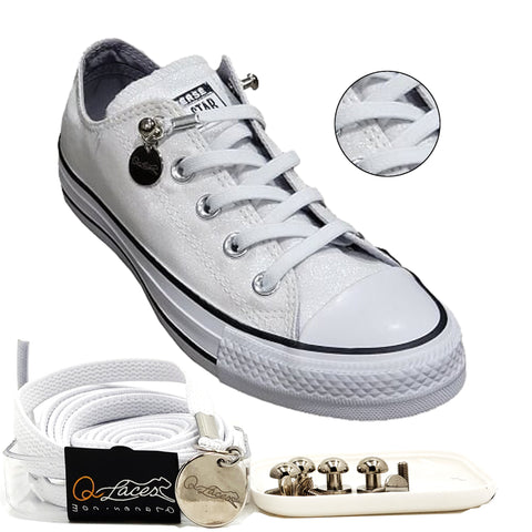 Image of White Nylon Elastic No Tie Shoelaces for Adult & Kid, Sneakers, Shoes