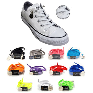 Tieless White Elastic No Tie Shoelaces for Adults & Kids Sneakers