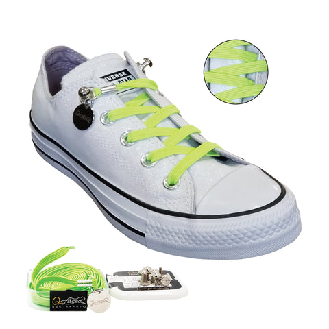 Image of Green Yellow Polyester Elastic No Tie Shoelaces for Adult & Kid, Sneakers, Shoes