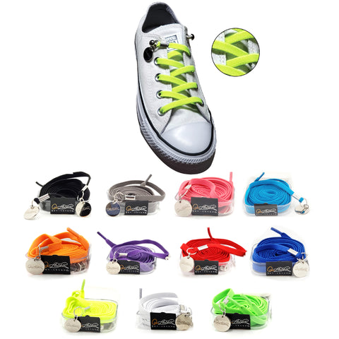 Image of Green Yellow Nylon Elastic No Tie Shoelaces for Adults & Kids, Sneakers, Shoes