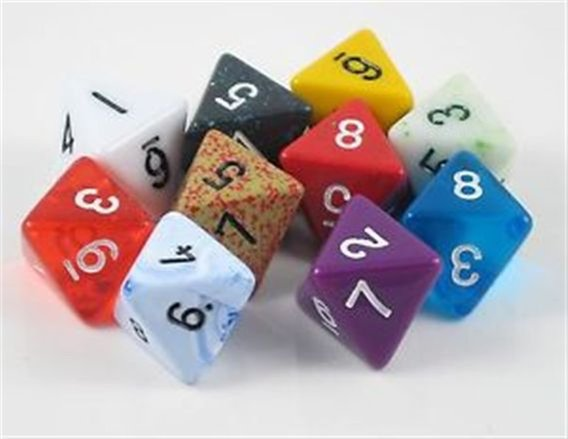 Polyhedral Dice: 8-sided - Random Color