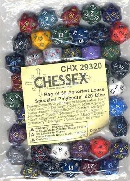 Bag of 50 Assorted Speckled 20-Sided Dice