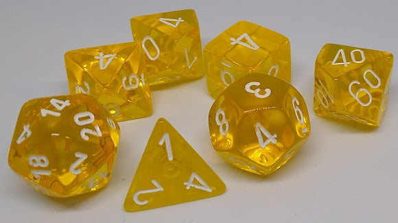 Chessex 23072 Translucent: Yellow/White - Polyhedral (7 Dice)