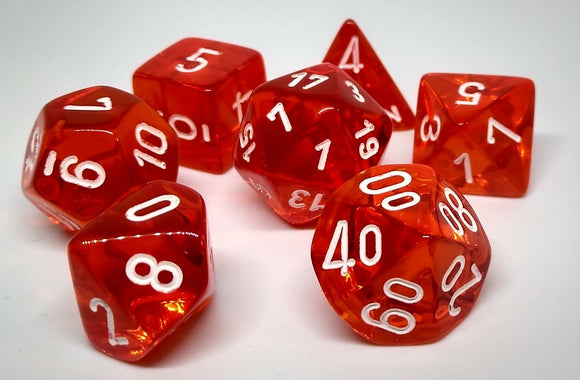 Chessex 23073 Translucent: Orange/White - Polyhedral (7 Dice)