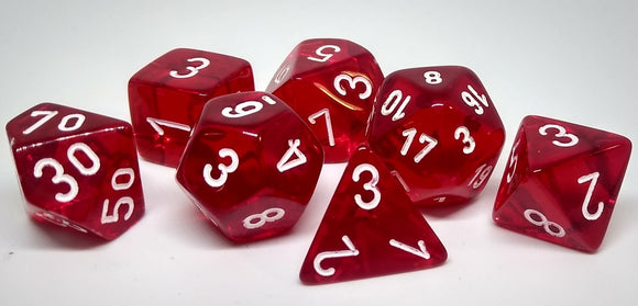 Chessex 23074 Translucent: Red/White - Polyhedral (7 Dice)