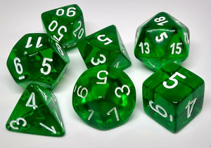 Chessex 23075 Translucent: Green/White - Polyhedral (7 Dice)