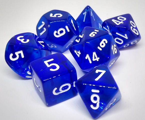 Chessex 23076 Translucent: Blue/White - Polyhedral (7 Dice)