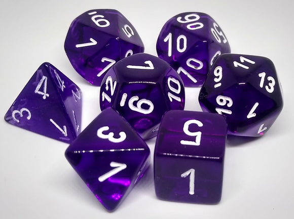 Chessex 23077 Translucent: Purple/White - Polyhedral (7 Dice)