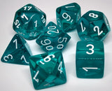 Chessex 23085 Translucent: Teal/White - Polyhedral (7 Dice)
