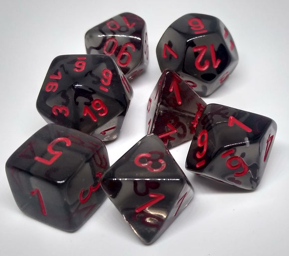 Chessex 23088 Translucent: Smoke/Red - Polyhedral (7 Dice)
