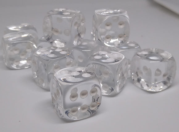 Chessex 23601 Translucent: Clear/White - 16mm D6 (12 Dice)